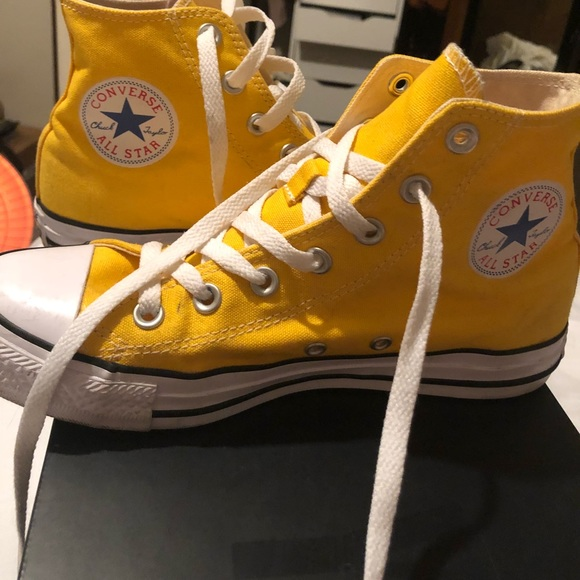 Converse Shoes - Hi High Top Bright Yellow Converse Chuck Taylors cd4cd74b3
